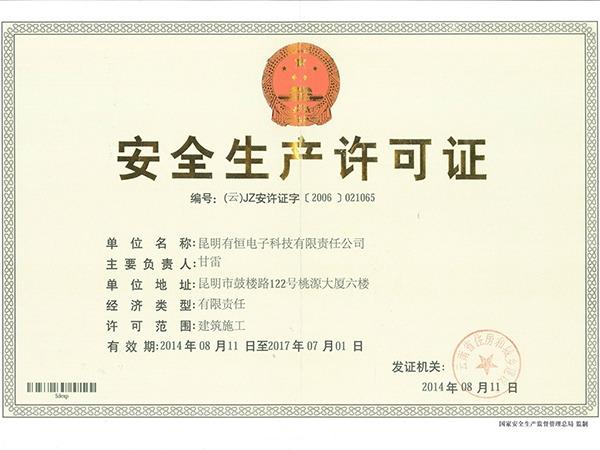 有恒电子安全生产许可证